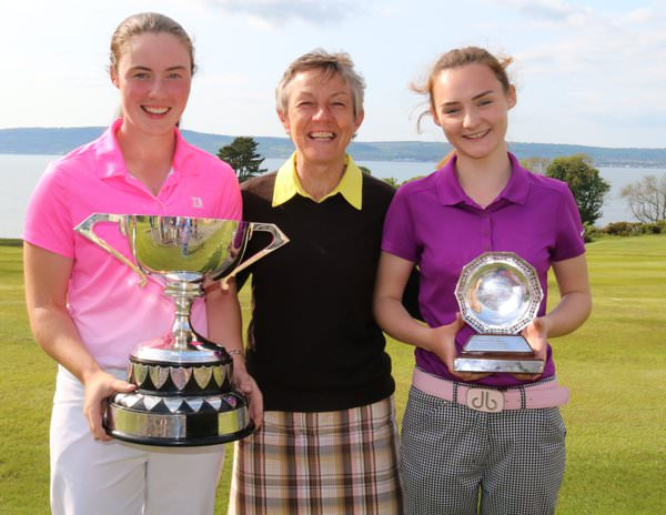 Lisa Maguire and Belvoir's Park's Ciara Brennan with the Violet McBride,Lady Captain of Belvoir Park at Royal Belfast.