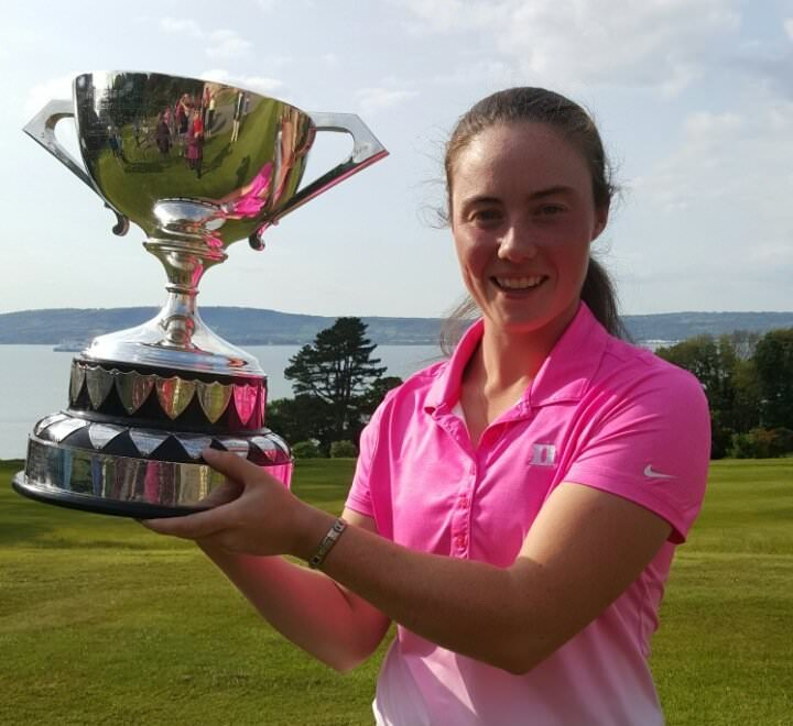 Lisa Maguire with the Ulster Women's Championship trophy