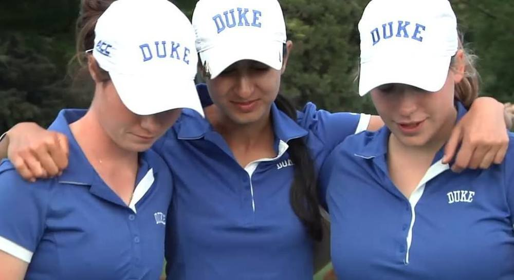 Leona Maguire, left, with some of her Duke University team mates