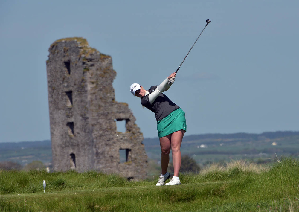 Olivia Mehaffey (Royal County Down Ladies) driving at the 13th tee in the final of the 2016 Irish Women's Close Amateur Championship at Lahinch Golf Club. Picture by Pat Cashman