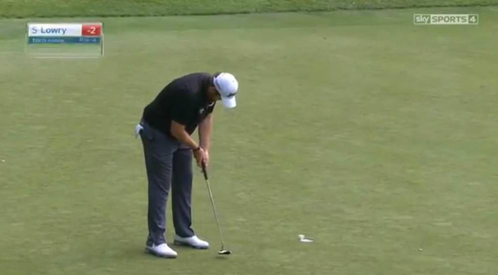 Shane Lowry ran his par putt this far past and made a triple bogey at the 15th