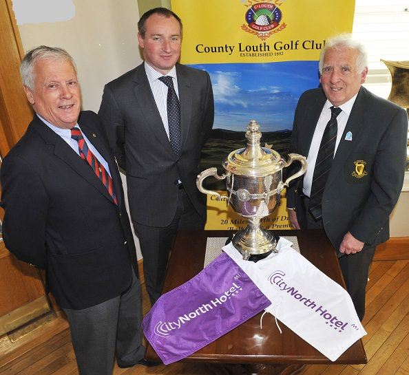 Frank Gannon (Captain, Co. Louth Golf Club), Simon Anglin (General Manager, CityNorth Hotel) and John Ferriter (Chairman, Leinster Golf) at the launch of the 2016 CityNorth Hotel sponsored East of Ireland Championship.