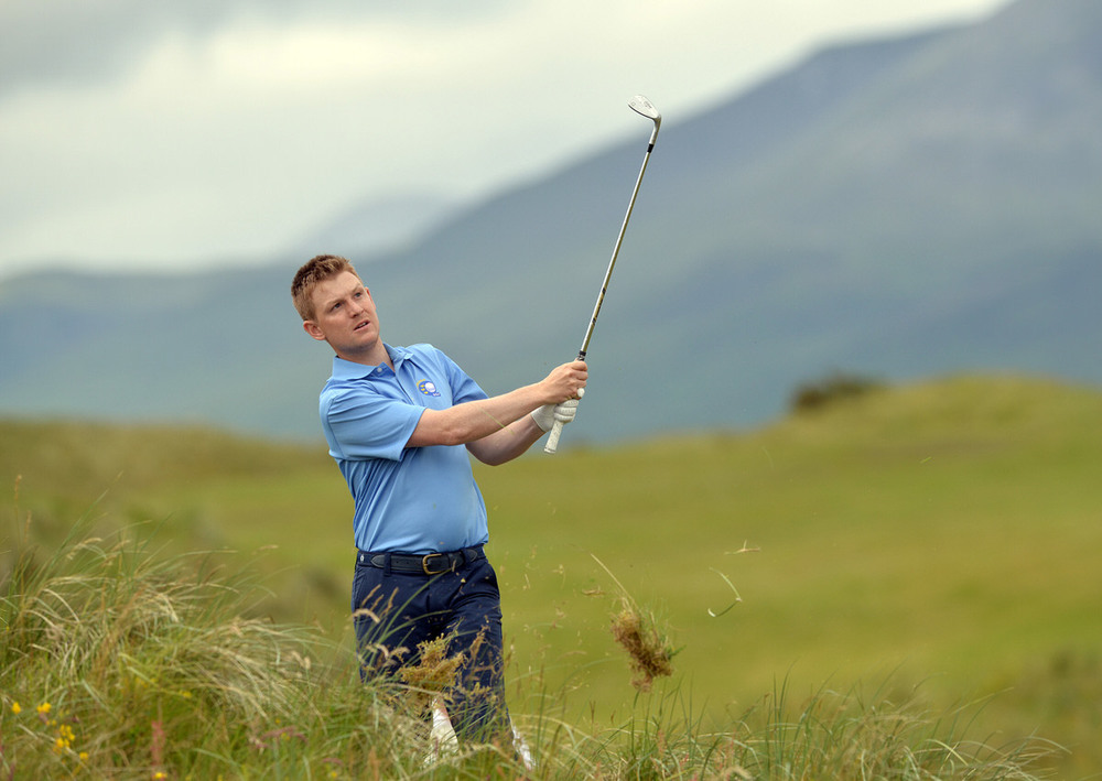 Geoff Lenehan (Munster) playing from the rough at the 13th hole during the second day of the 2015 Interprovincial Championship at Rosapenna Golf Club (07/07/2015). Picture by  Pat Cashman