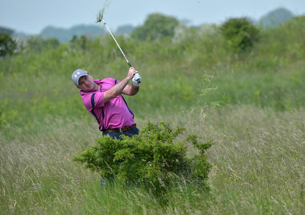 Paul O'Hanlon (Carton House) playing from the rough during the final round. Picture by  Pat Cashman