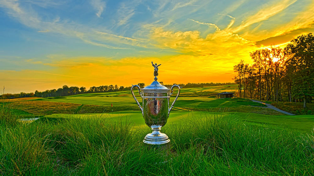 The US Open trophy at Oakmont Country Club