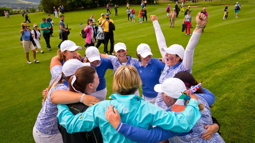 GB&I players celebrate their three-point victory over the USA on Sunday at Dun Laoghaire Golf Club. It was only the side's third win over the USA in the last 20 years. (USGA/Steven Gibbons)