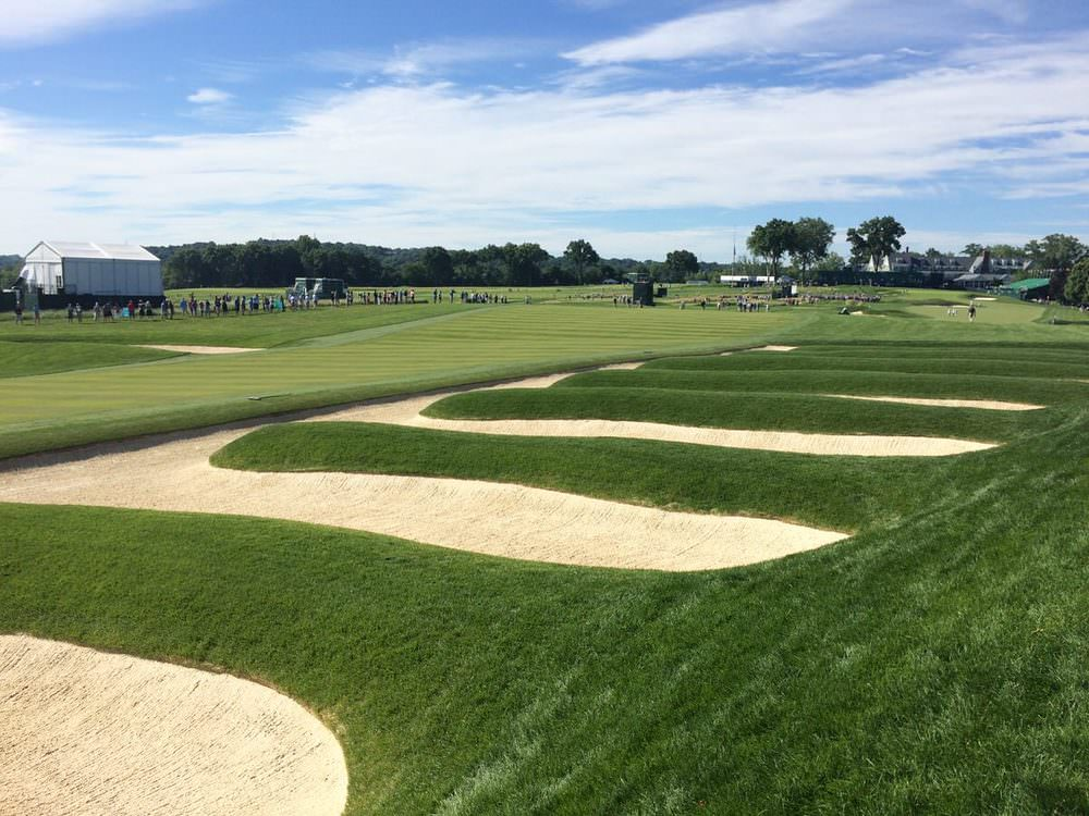 The fairway bunkers on the 15th at Oakmont