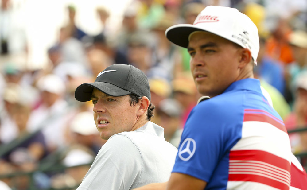 Rory McIlroy, left, with Rickie Fowler at the third tee during the first round for the 2016 U.S. Open at Oakmont Country Club, June 16, 2016. Copyright USGA/Darren Carroll
