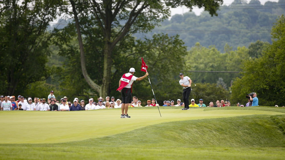 Rory McIlroy chipping on the 4th green during the first round.Copyright USGA/Joel Kowsky