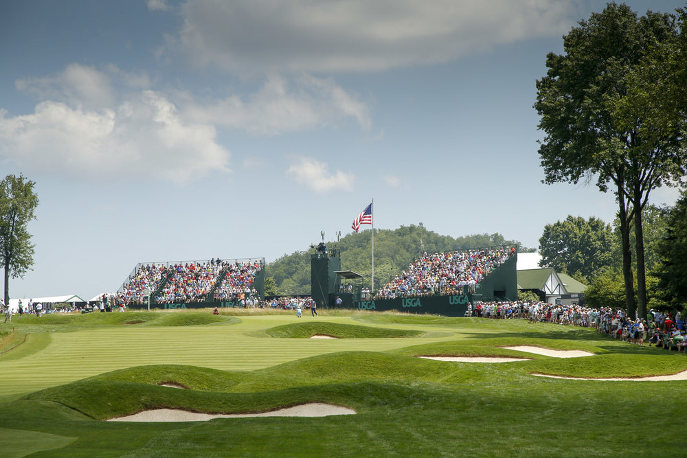 General view of the green on the second hole during the first round of the 2016 U.S. Open at Oakmont Country Club in Oakmont, Pa. on Friday, June 17, 2016. (Copyright USGA/Michael Cohen)