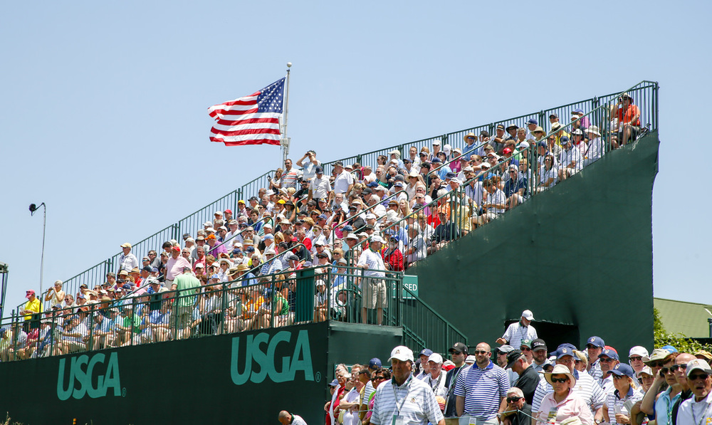 General view of the grandstands on the second hole during the first round of the 2016 U.S. Open at Oakmont Country Club in Oakmont, Pa. on Friday, June 17, 2016. (Copyright USGA/Michael Cohen)