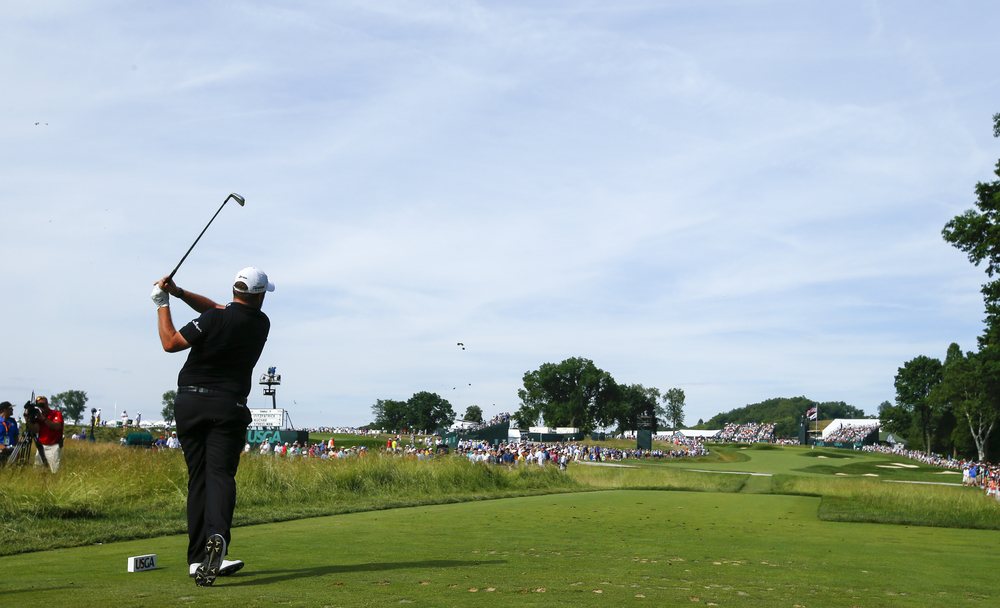 Shane Lowry hits his tee shot on the second hole during the third round of the 2016 U.S. Open at Oakmont Country Club in Oakmont, Pa. on Saturday, June 18, 2016. (Copyright USGA/Jeff Haynes)