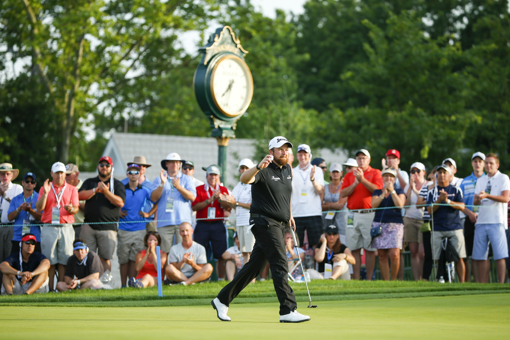 Shane Lowry waves to the gallery after making a birdie on the ninth hole during the third round of the 2016 U.S. Open at Oakmont Country Club in Oakmont, Pa. on Saturday, June 18, 2016. (Copyright USGA/Jeff Haynes)