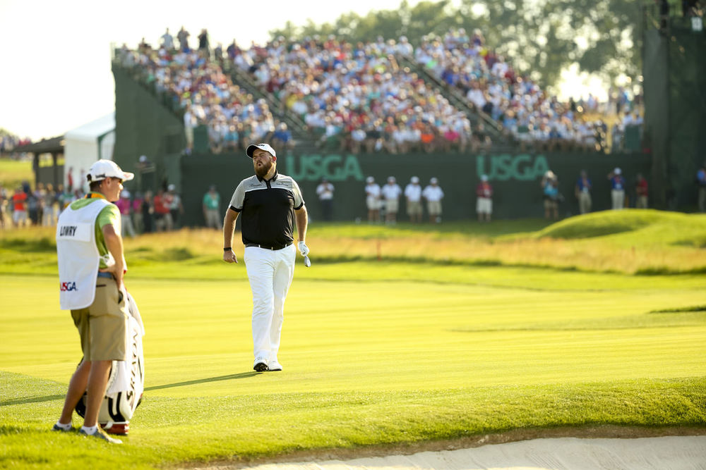 Shane Lowry reacts to missing an eagle chip on the 12th hole during the final round of the 2016 U.S. Open at Oakmont Country Club in Oakmont, Pa. on Sunday, June 19, 2016. (Copyright USGA/Darren Carroll)