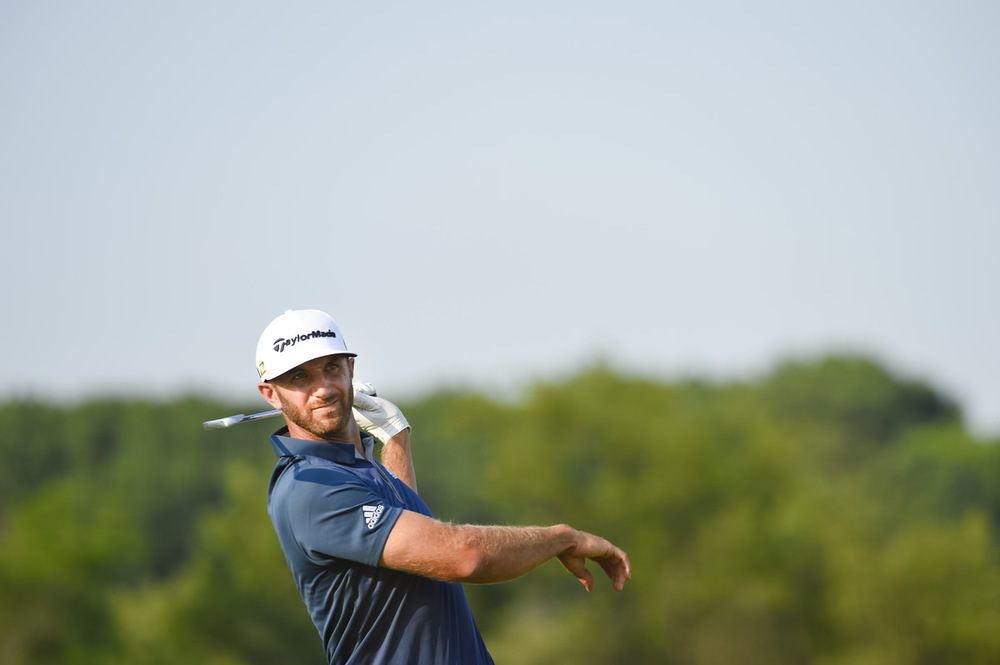 Dustin Johnson reacts to his tee shot on the 14th hole during the final round of the 2016 U.S. Open at Oakmont Country Club in Oakmont, Pa. on Sunday, June 19, 2016. (Copyright USGA/JD Cuban)