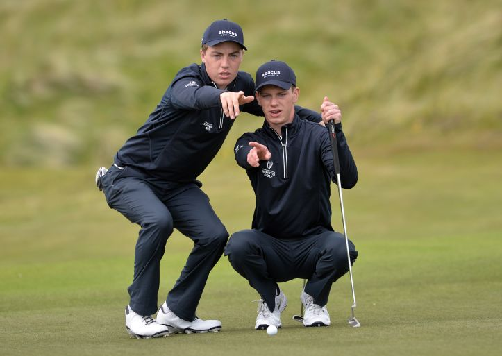 Leinster's Kevin Le Blanc and Rowan Lester lining up their putt on the 10th green during the second day of the 2015 Interprovincial Championship at Rosapenna Golf Club. Picture by  Pat Cashman