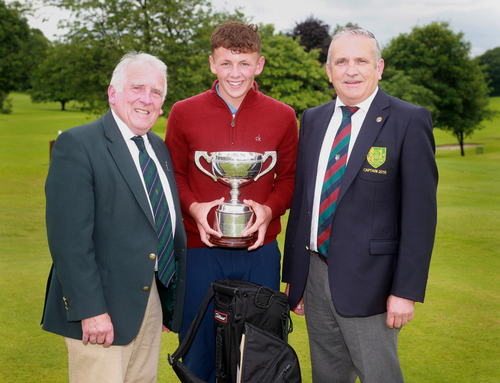 Leinster Boys' Open champion John Brady (Rosslare) with Leinster Golf chairman John Ferriter and Mullingar Golf Club captain, Gerry Austin. Picture: Ronan Temple Lang
