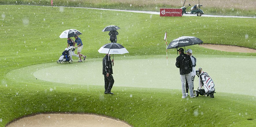 A thunderstorm delays the climax of the Brabazon Trophy with Jamie Bower and Cameron Davis tied on the 18th. Picture: EnglandGolf