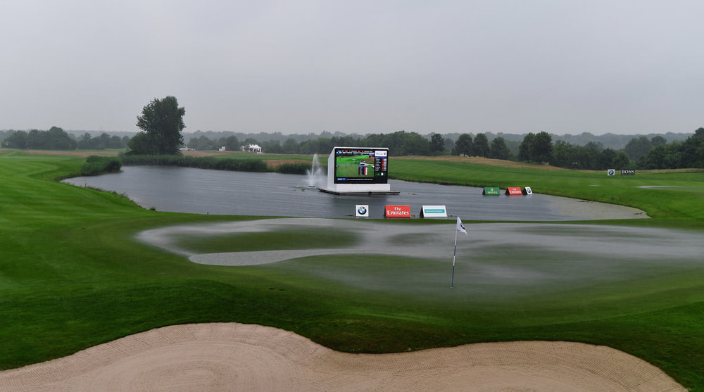 The waterlogged 18th green at Gut Laerchenhof Golf Club. Picture: Getty Images