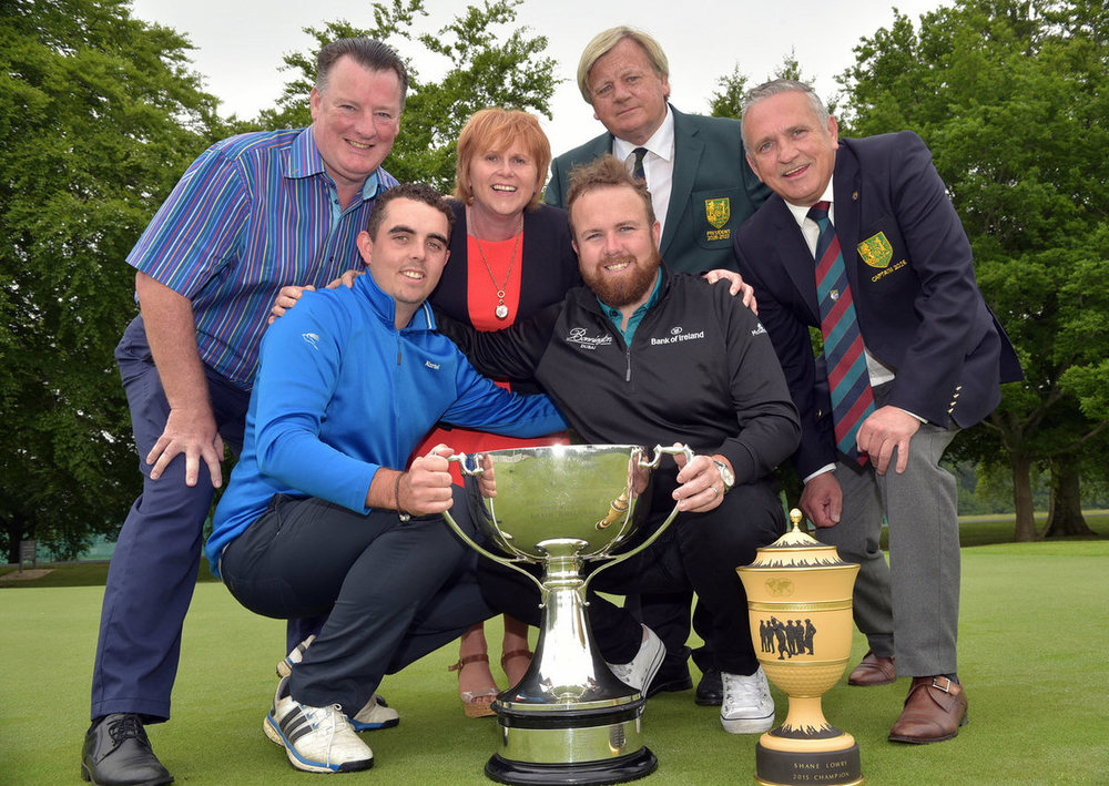 Defending champion Alan Lowry pictured with his brother Shane (2008 winner) at the launch of the Mullingar Electrical sponsored 2016 Mullingar Scratch Cup to be played over the August Bank holiday. Also in the picture are Peader and Ann Marie Conlon (sponsor), Michael Donnellon (President, Mullingar Golf Club) and Gerry Austin (Captain, Mullingar Golf Club). Picture by  Pat Cashman