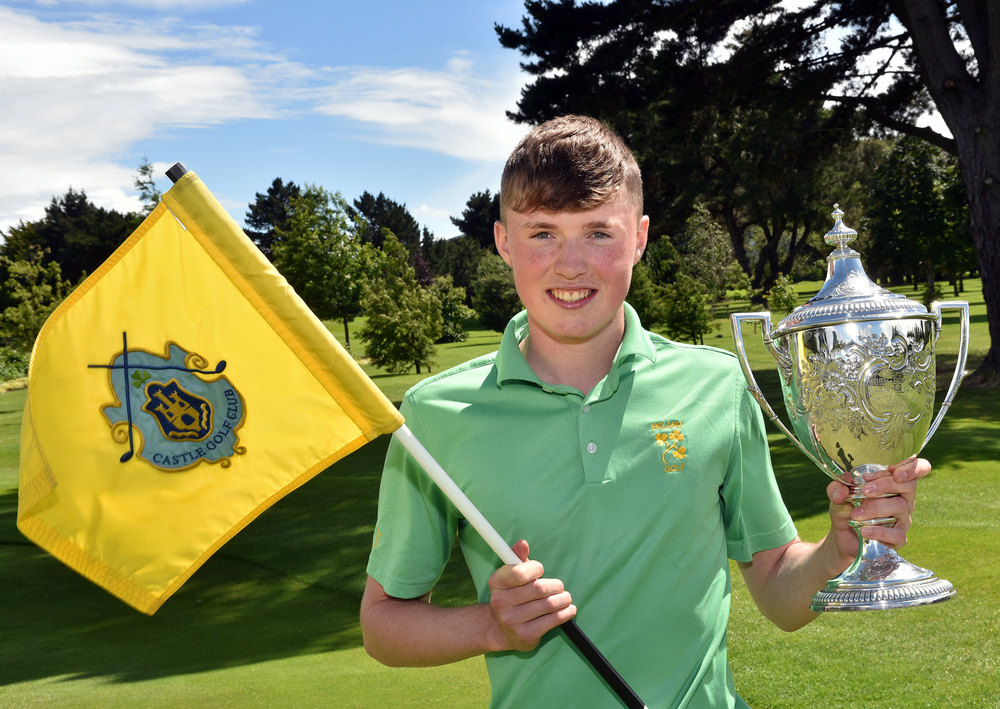 King of the Castle.......Winner Mark Power (Kilkenny) with the 2016 Irish Boys Amateur Open Championship trophy after his victory at Castle Golf Club. Picture by Pat Cashman