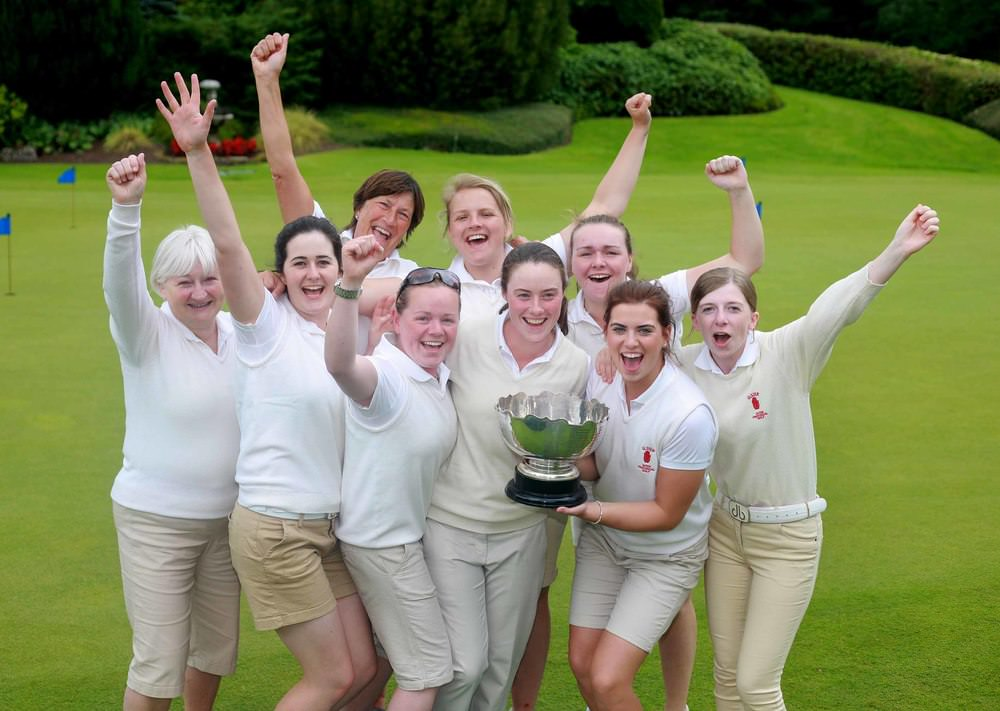 The victorious Ulster Women's team celebrate after winning the Interprovincial title at Slieve Russell. L-R Ray Gregg, Ulster district Hon Sec., Paula Grant, Captain Janet Wilson, Niamh Ward, Tara Gribben, Lisa Maguire, Hannah Henderson, Chloe Weir, Jenny Young, manager. Picture: Ronan Lang