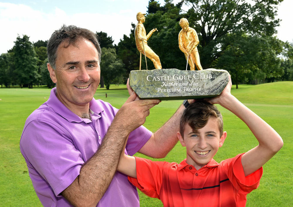 Milltown's Jody Fanagan with his son Harry (16) winners of the 2016 CPL Resources sponsored Father & Son Competition at the Castle Golf Club. Picture by Pat Cashman