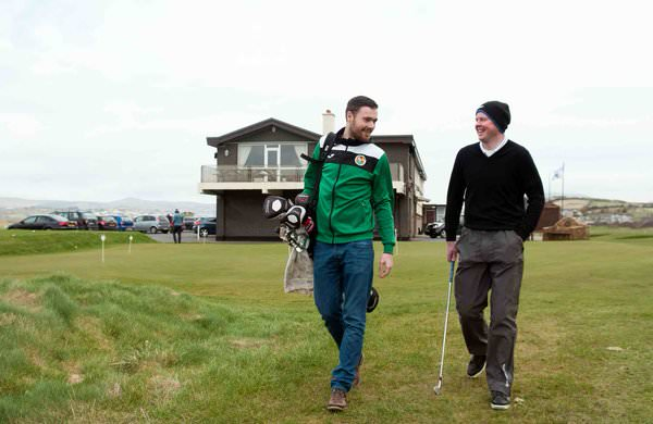 Brian McElhinney (right) at his home club, North West