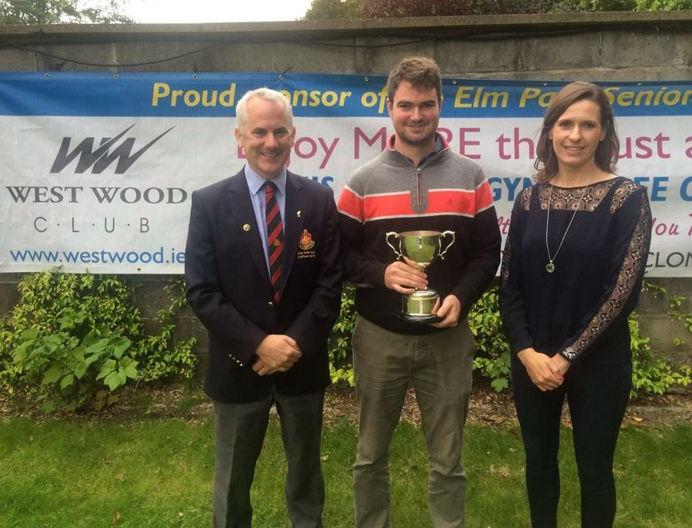 (Left-right) Dara O'Gaora, Captain Elm Park; Richie Tighe and Karen Polley, WestWood Club