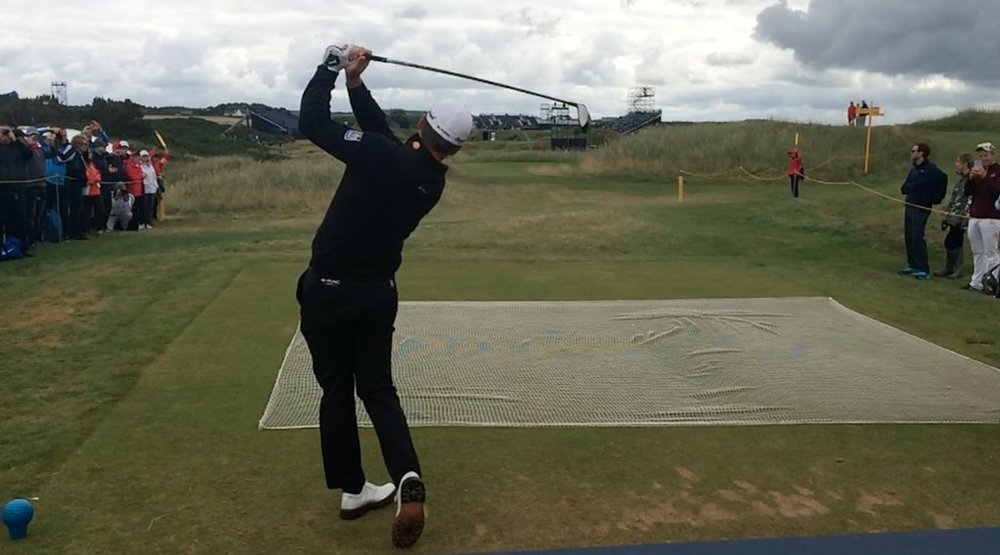 Graeme McDowell hits in practice at Royal Troon