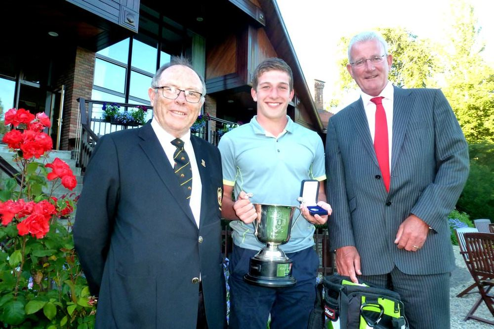 Allianz-Grange Boys' Golf tournament winner Jack Walsh (Castle) with Donal Bollard (Capt. Grange GC) and Brian Higgins (Allianz Ireland). Photo by Percy Harman.