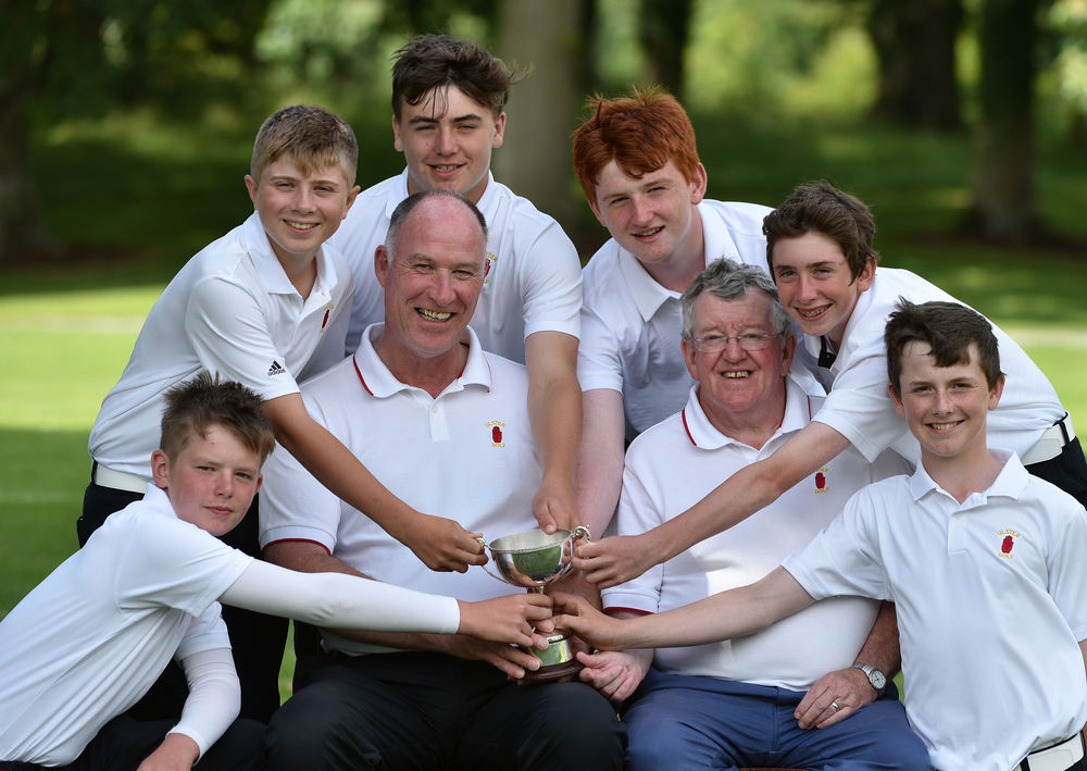 Dermot Logue (Team Captain) and Damian Montague (Team Manager) with the winning Ulster Under 14 team (from left) Keaton Morrison, Josh Black, Edward Rowe, Conor Joyson, Tom McKibben and Conor Byrne at the 2016 Boys Interprovincial Championship matches at Tullamore Golf Club today (21/07/2016). Picture by  Pat Cashman