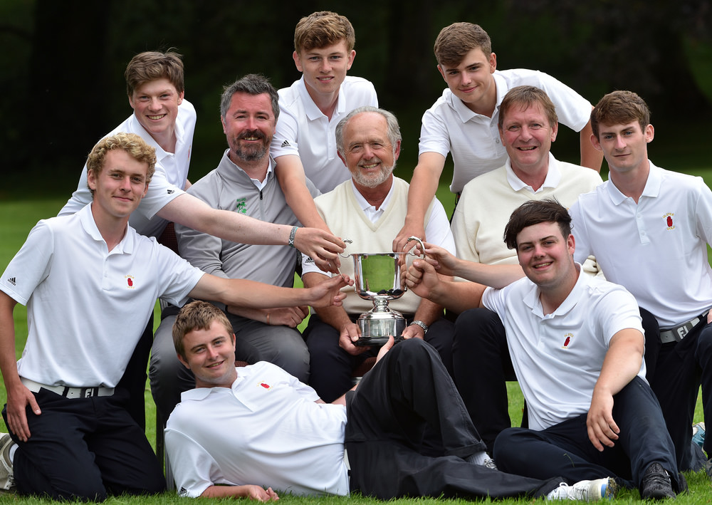 Peter Waddell (Team Captain), Kenneth McCall (Team Manager), Stephen Hood (Provincial Coach) with the victorious Ulster Boys Interprovincial team (from left) Hugh O'Hare, JJ Logue, Marc McKinstry, Jack Madden, Patrick Brennan, Michael McGurk and Owen Crooks on the final day of the 2016 Boys Interprovincial Championship matches at Tullamore Golf Club today (22/07/2016). Picture by Pat Cashman