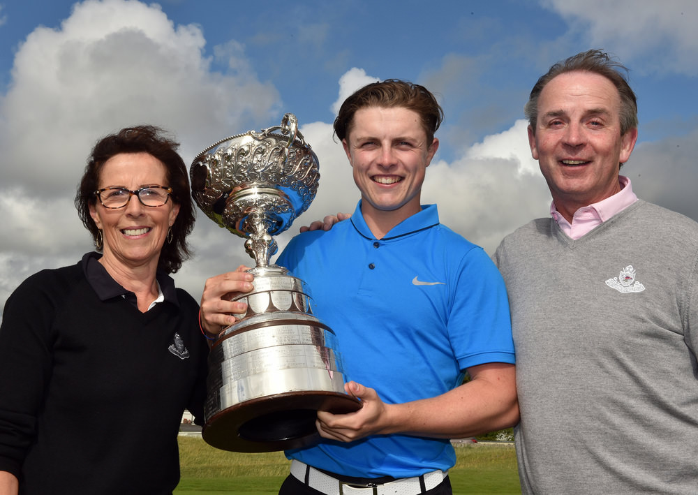 Conor Purcell (Portmarnock) winner of the 2016 South of Ireland Championship at Lahinch Golf Club with his mother Mary and father Joey. Picture by  Pat Cashman
