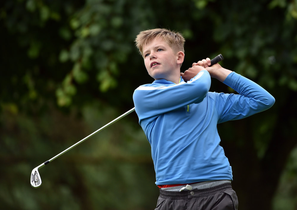 Winner Keaton Morrison (Greenacres) driving from the 17th tee during the 2016 Irish Boys Under 14 Amateur Open Championship at Lurgan Golf Club today (29/07/2016). Picture by Pat Cashman