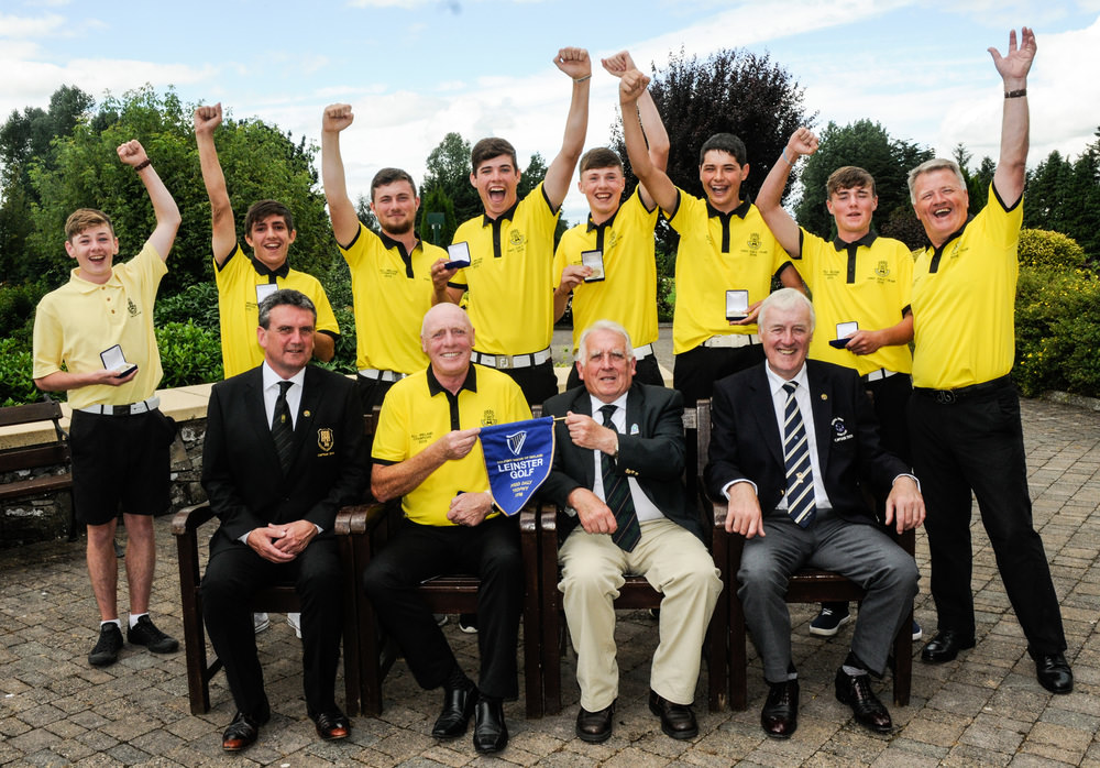 The winning Kilkenny team, front (l to r): Frank Dalton, Captain of Kilkenny, Leo Byrne, Team Manager, John Ferriter, Chairman of Leinster Golf and Paddy Walsh, Captain of Royal Tara. Back: Simon Cullen, Jeff Kealy, Kevin Power, Harry Duggan, Mark Power, Richard Duggan, James Everard and Eddie Power, Assistant Team Manager. Photo: Ronan Quinlan