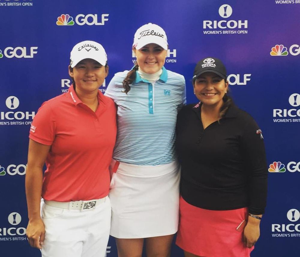 Olivia Mehaffey with Yani Tseng and Lisette Salas. Picture; Olivia Mehaffey