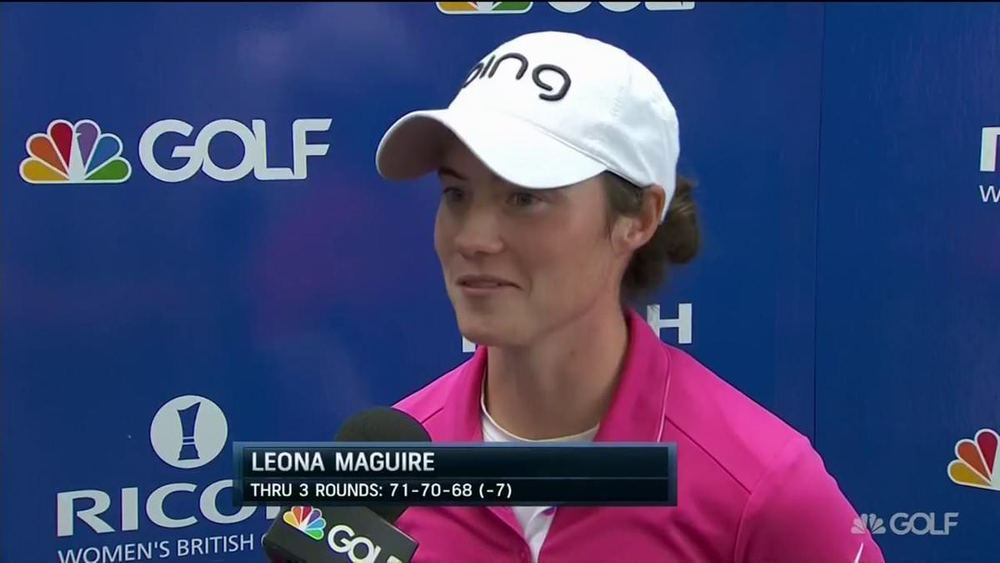 Leona Maguire speaks to TV after her third round 68