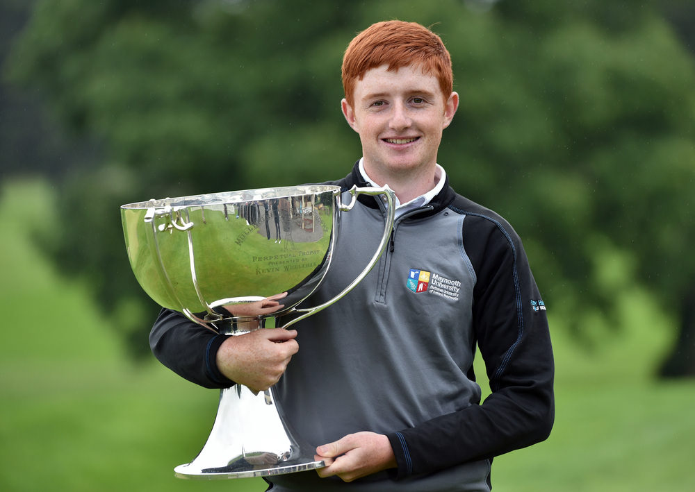 Winner Ronan Mullarney (Galway) with the 2016 Mullingar Electrical Scratch Trophy at Mullingar Golf Club ( 01/08/2016). Picture by Pat Cashman