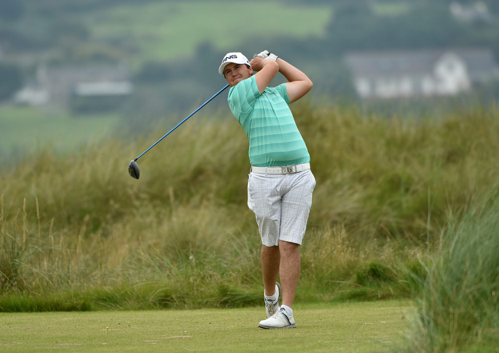 Colm Campbell (Warrenpoint) driving at the AIG Irish Amateur Close Championship at Ballyliffin Golf Club today (18/08/2016). Picture by Pat Cashman