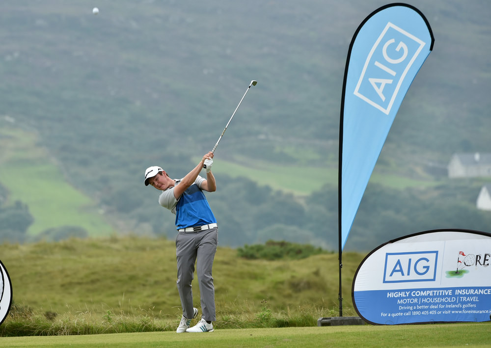 John Ross Galbraith (Whitehead) driving at the 10th tee at the AIG Irish Amateur Close Championship at Ballyliffin Golf Club today (18/08/2016). Picture by Pat Cashman