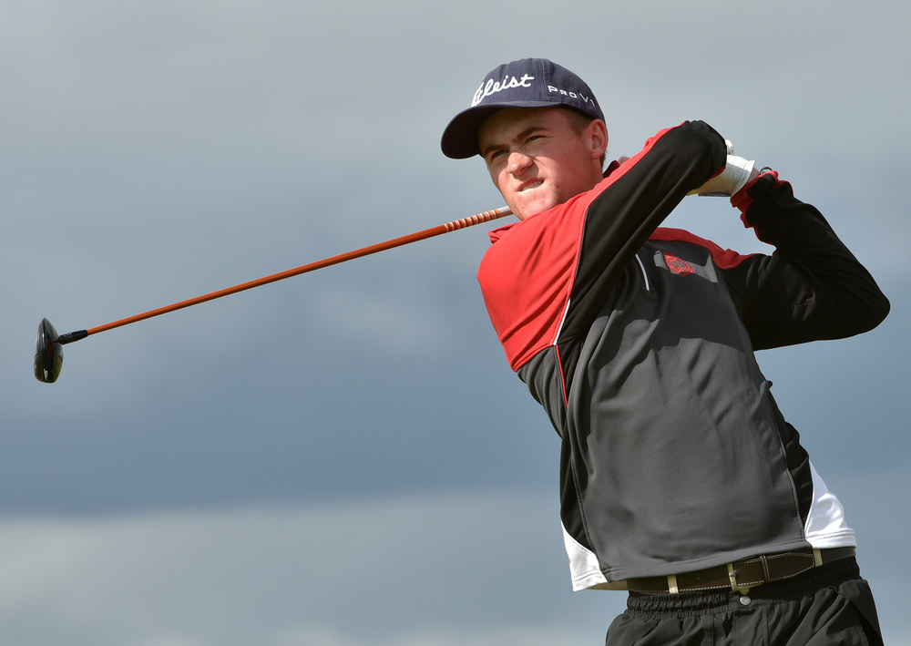 Peter Kerr (Royal Portrush) driving at the 9th tee during his quarter final match at the AIG Irish Amateur Close Championship at Ballyliffin Golf Club. Picture by  Pat Cashman