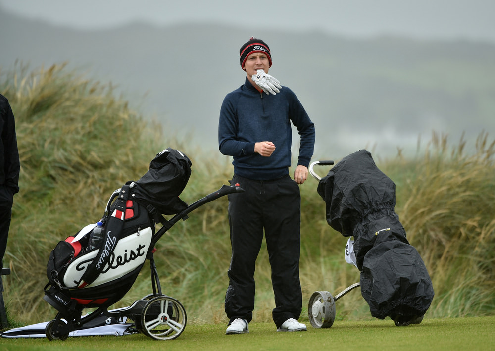 Geoff Lenehan (Portmarnock) assess the situation on the 11th tee during his third round mach with Conor O'Rourke at the AIG Irish Amateur Close Championship. Picture by  Pat Cashman