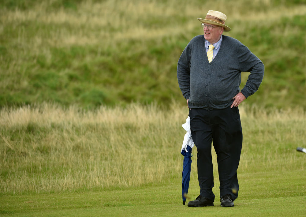 Course architect Pat Ruddy, who designed the Glashedy Links with the late Tom Craddock, watching the action in the AIG Irish Amateur Close Championship. Picture by  Pat Cashman