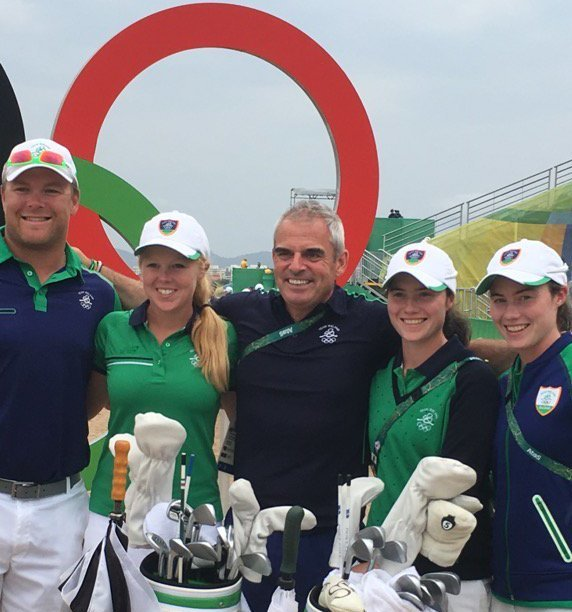 Leona Maguire with her sister Lisa, Stephanie Meadow and caddie and Paul McGinley in Rio