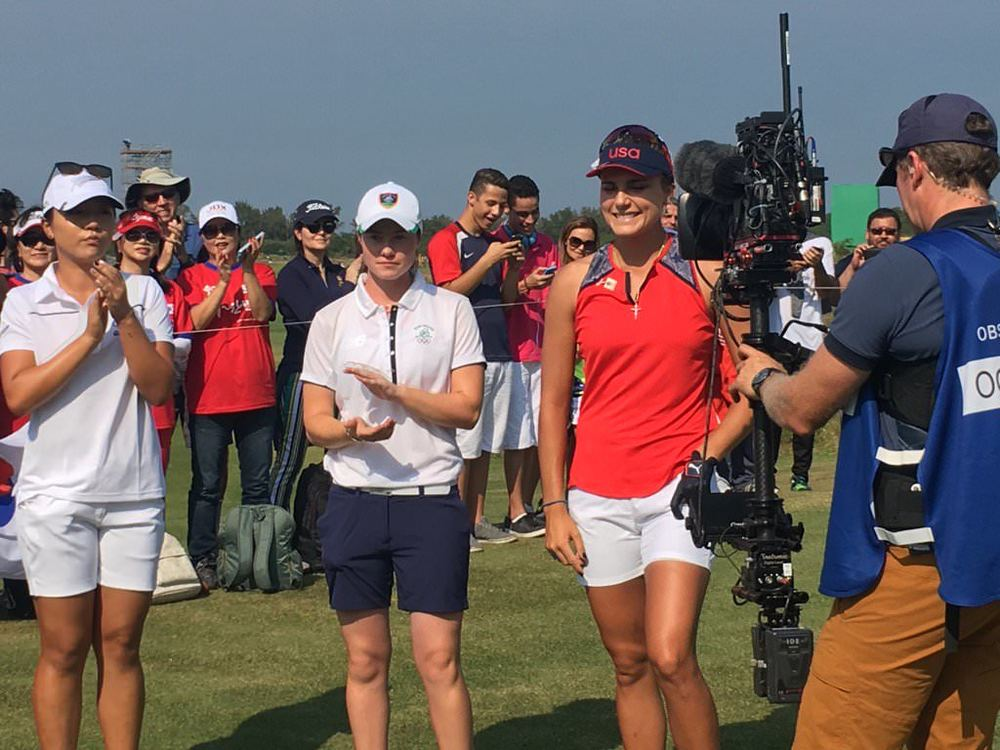 Leona Maguire with Lydia Ko and Lexi Thompson