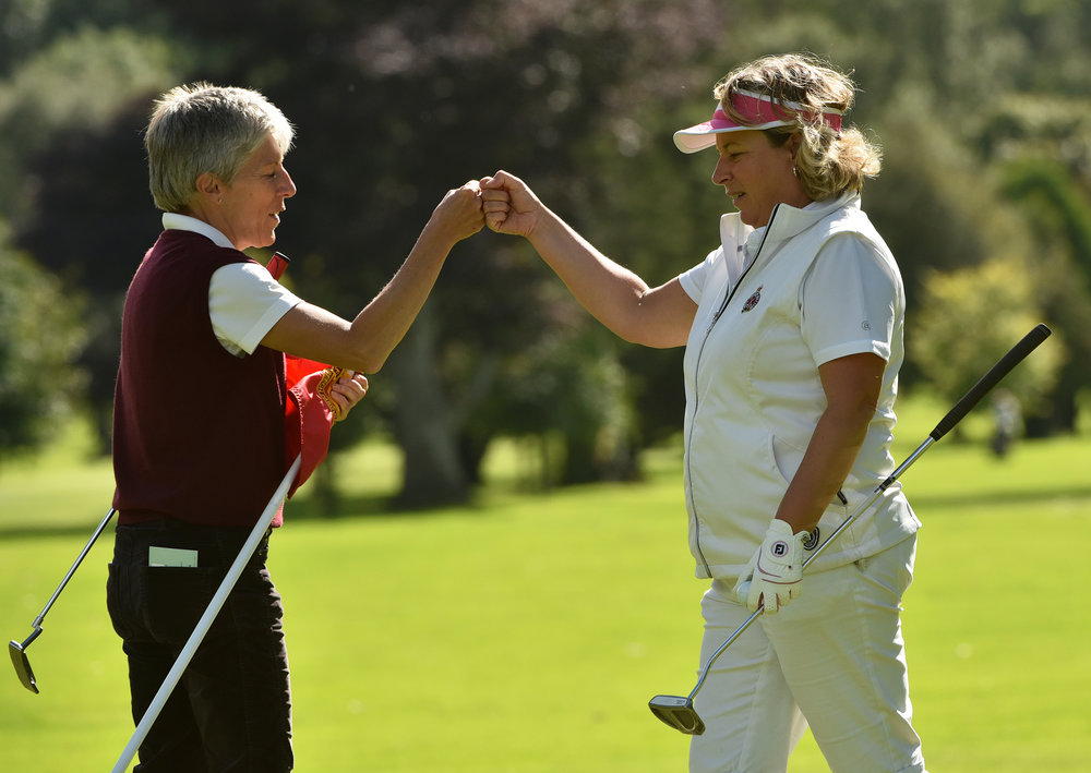 Royal Portrush's Helen Jones and Vivienne Houston celebrate their win in the Australian Spoons at Beech Park. Picture:  Pat Cashman
