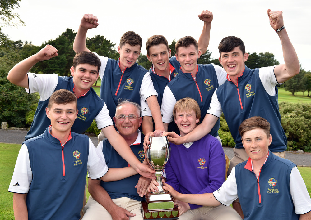 Limerick's Team Captain Ivan Morris with John Jennings (Junior Captain) and the winning Fred Daly All Ireland team (from left) Luke O'Brien, Ciaran Vaughan, Morgan Hanley, Sean Enright, Eoghan C O'Neill, Eoghan O'Neill and Ross Fitzgerald after their victory at Galway Golf Club today (23/082016).Picture by  Pat Cashman