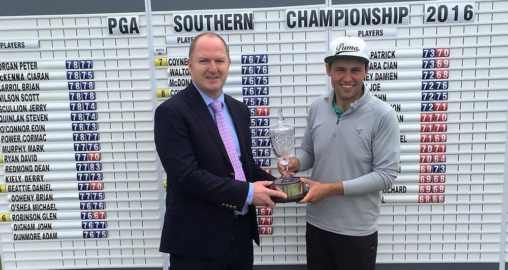 Neil O'Briain - PGA Southern Branch Champion 2016 receiving winner's trophy from Gavin Hunt, Golf Manager at Powerscourt Golf Club