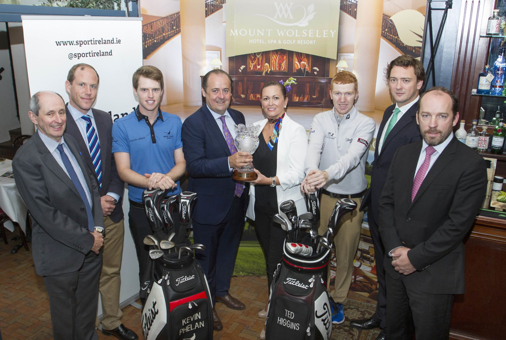 (L-R) Austin Mallon (Sport Ireland),  Jamie Hodges (European Challenge Tour), Michael McElligott  (Chief Executive Tetrarch Capital), Sheena McCanny (Director of Sales & Marketing Mount Wolseley), Gavin Moynihan, Damien Gaffney (Managing Director Tetrarch Hospitality) and Pat Finn (GUI).